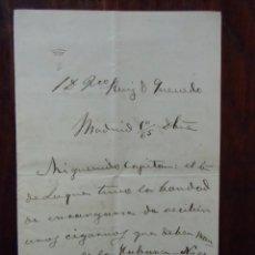 Militaria: GENERAL PRIM.1865/CARTA ORIGINAL MANUSCRITA Y FIRMADA,DIRIGIDA A LA HABANA(CAP D.FCO.RUIZ DE QUEVEDO. Lote 147200382