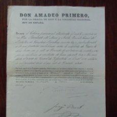 Militaria: AMADEO PRIMERO/ASCENSO A CORONEL-MERITO DE GUERRA/MADRID 24 DE OCTUBRE 1871.. Lote 147205818