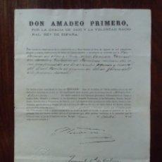 Militaria: AMADEO PRIMERO/CONCESION CRUZ DE SEGUNDA CLASE DE LA ORDEN DEL MERITO MILITAR/MADRID,9 OCTUBRE 1871.. Lote 147206010
