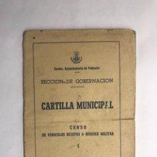 Militaria: MILITAR. VALENCIA, CENSO DE VEHÍCULOS SUJETOS A REQUISA MILITAR (A.1956). Lote 147398169
