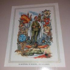 Militaria: PROPAGANDA FRANQUISTA. FOTO-PÓSTER DE FRANCO A LOS REGULARES. 1992. Lote 147621018