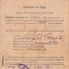 Militaria: HOJA DE CONCENTRACIO REEMPLAZO 1932 SEXTA DIVISION FECHADA 1/8/1932. Lote 147883870