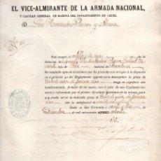 Militaria: NOMBRAMIENTO DE CABO DE CAÑON DE PRIMERA. SAN FERNANDO. CADIZ 1870. Lote 147980110