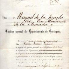 Militaria: NOMBRAMIENTO APTO PARA EL SERVICIO DE TORPEDOS . CARTAGENA. 1881. Lote 147980434