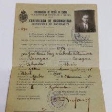 Militaria: CERTIFICADO DE NACIONALIDAD DEL VICE-CONSULADO DE ESPAÑA EN TARBES, AÑO 1925, MIDE ABIERTO 22,5 X 14. Lote 147997898