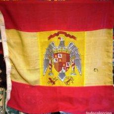 Militaria: ANTIGUA BANDERA DE ESPAÑA CON EL AGUILA (95 X 85 CM.APROX.). Lote 148011678