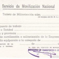Militaria: TARJETA DE MOVILIZACION NACIONAL DE MILITARIZACION DE LOS AÑOS 70 (METRO). Lote 148037986