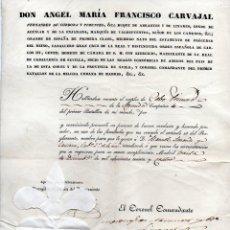 Militaria: NOMBRAMIENTO DE CABO CON LA FIRMA DEL ALCALDE DE MADRID EN 1834. BONITO SELLO DE PLACA.. Lote 148216350