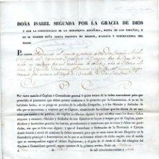 Militaria: CONCESIÓN DE UNA CÍA. FIRMAS DE Mº CRISTINA Y DEL GRAL. ESPARTERO COMO CONDE DE LUCHANA.. Lote 148217222