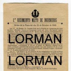 Militaria: SEGISMUNDO MORET -ORDEN DE PLAZA- 1 REGIMIENTO MIXTO INGENIEROS 23 OCTUBRE 1909 -EXCELENTE CONTENIDO. Lote 148508290