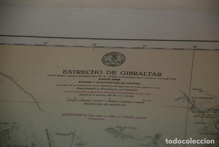 Militaria: INTERESANTE MAPA, PLANO O CARTA NÁUTICA DEL ESTRECHO DE GIBRALTAR - CON MARCAS Y ANOTACIONES - 1958 - Foto 2 - 148516798