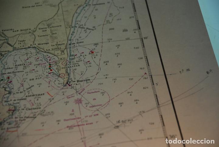 Militaria: INTERESANTE MAPA, PLANO O CARTA NÁUTICA DEL ESTRECHO DE GIBRALTAR - CON MARCAS Y ANOTACIONES - 1958 - Foto 8 - 148516798