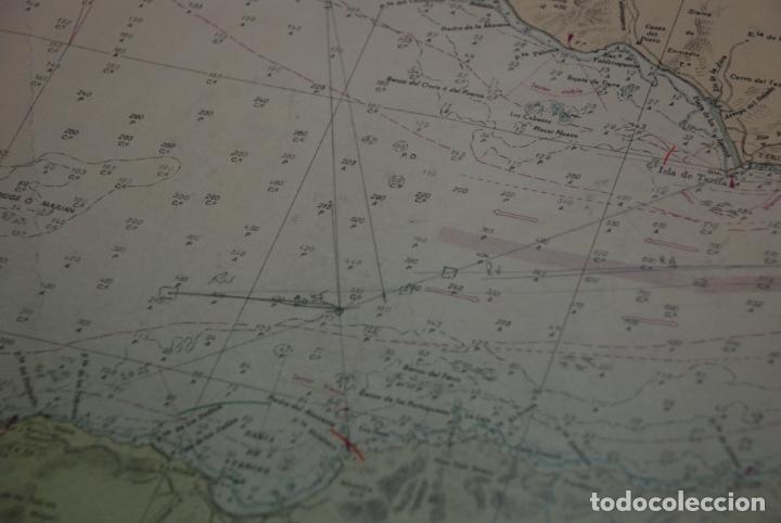 Militaria: INTERESANTE MAPA, PLANO O CARTA NÁUTICA DEL ESTRECHO DE GIBRALTAR - CON MARCAS Y ANOTACIONES - 1958 - Foto 9 - 148516798