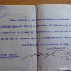 Militaria: RECIBO AGUINALDO SOLDADO DEL EJÉRCITO NACIONAL. BANCO URQUIJO SAN SEBASTIÁN 1936. Lote 148593466