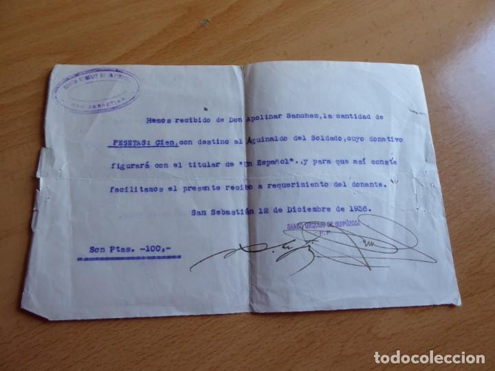 Militaria: Recibo aguinaldo soldado del ejército nacional. Banco Urquijo San Sebastián 1936 - Foto 2 - 148593466