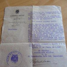 Militaria: PENSIÓN VIUDA DE GUERRA. GOBIERNO MILITAR MURCIA 1940. Lote 148594026