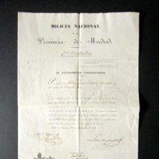Militaria: AÑO 1847. MILICIA NACIONAL. NOMBRAMIENTO AYUNTAMIENTO DE MADRID DE SUBTENIENTE. FIRMA ALCALDE. . Lote 149406234