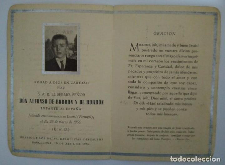 Militaria: Esquela Don Alfonso de Borbón hermano pequeño de Juan Carlos I que murió a los 15 años de edad 1956 - Foto 2 - 116647735