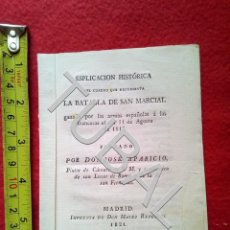 Militaria: TUBAL 1821 BATALLA SAN MARCIAL ESPLICACION DEL CUADRO JOSE APARICIO GUERRA INDEPENDENCIA . Lote 150682482