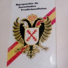 Militaria: PEGATINA AGRUPACION DE JUVENTUDES TRADICIONALISTAS AÑOS 70. Lote 151244934