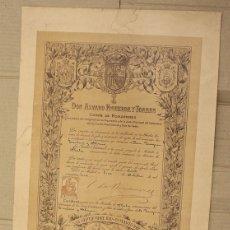 Militaria: TITULO MEDALLA DE PLATA CENTENARIO DE LAS CORTES DE CADIZ. AÑO 1912. Lote 151381090
