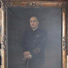 Militaria: OLEO DEL GENERALÍSIMO FRANCO CON UNIFORME DE ALMIRANTE.(RARO). 111 X 141 CM CON MARCO. Lote 151388498
