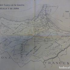 Militaria: ANTIGUO MAPA DEL TEATRO DE LA GUERRA. MELILLA. GUERRA DEL RIF. 64 X 44 CTMS.. Lote 151494086