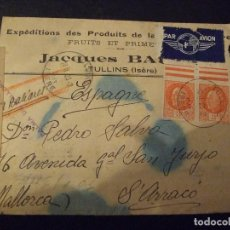 Militaria: CARTA SEGUNDA GUERRA MUNDIAL 1943 - FRANCIA A MALLORCA - CENSURA M , WEHRMACHT , ISERE , S'ARRACO. Lote 152432342