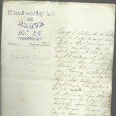 Militaria: Iº BATALLÓN DEL REGIMIENTO INFANTERIA DE ALAVA,Nº 56, CUBA 1897 ( LISTA DE 107 SOLDADOS ). Lote 152658050