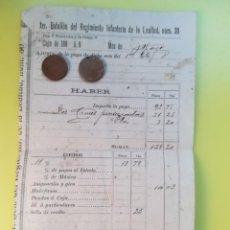 Militaria: AJUSTE DE PAGA A MILITAR ESPAÑOL PRIMER TENIENTE POR DOS CRUCES PENSIONADAS FINALES AÑOS 1890. Lote 153581838