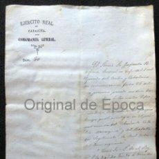 Militaria: (JX-190306)GUERRAS CARLISTAS,EJERCITO REAL DE CATALUÑA,COMANDANCIA GENERAL,D.ISIDORO IZAGUIRRE 1874. Lote 153640754
