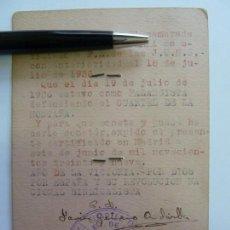 Militaria: CERTIFICADO J.O.N.S FALANGISTA DEFENDIENDO EL CUARTEL DE LA MONTAÑA. MADRID 19 DE JULIO DE 1936. Lote 154110002