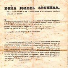 Militaria: GUERRAS CARLISTAS DOCUMENTO,FIRMA REINA ISABEL II EN PALACIO,ASCENSO CAPITAN CABALLERIA EX ENEMIGO. Lote 154367890