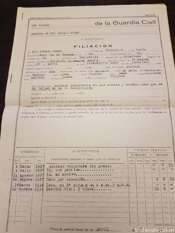 FILIACIÓN GUARDIA CIVIL (Militar - Propaganda y Documentos)