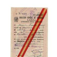 Militaria: SALVOCONDUCTO ESPECIAL DE FRONTERAS. 1948. UN MES. Lote 154631690