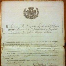 Militaria: DOCUMENTO DE LICENCIA ABSOLUTA. BARCELONA, 1919. CRUZ AL MÉRITO MILITAR. Lote 154858614