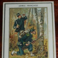 Militaria: ANTIGUO CROMO DE LA ARMADA FRANCESA, 1880-1900, HACHETTE, CAZADORES, MIDE 12 X 8,6 CMS. APROXIMADAME. Lote 154984130