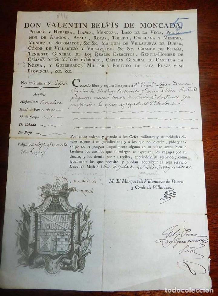 1814, FERNANDO VII, GUERRA DE LA INDEPENDENCIA, PASAPORTE A CAPITAN DEL PRIMER BATALLON DE TIRADORES (Militar - Propaganda y Documentos)
