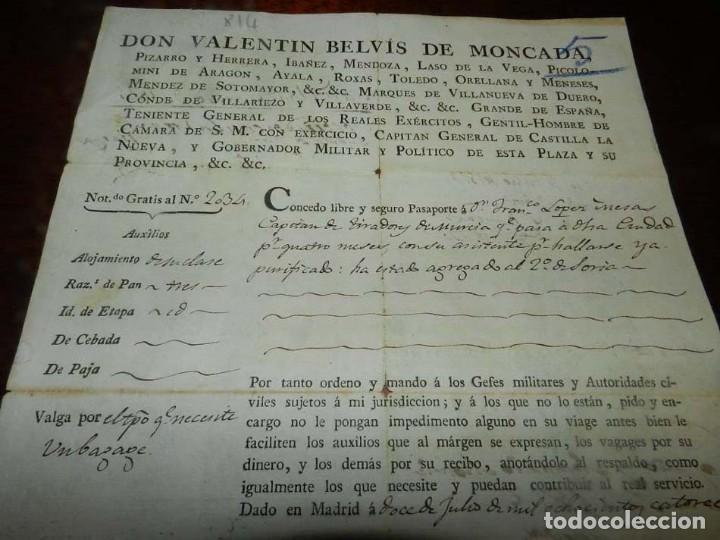 Militaria: 1814, FERNANDO VII, GUERRA DE LA INDEPENDENCIA, PASAPORTE A CAPITAN DEL PRIMER BATALLON DE TIRADORES - Foto 2 - 155098682