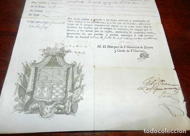 Militaria: 1814, FERNANDO VII, GUERRA DE LA INDEPENDENCIA, PASAPORTE A CAPITAN DEL PRIMER BATALLON DE TIRADORES - Foto 3 - 155098682