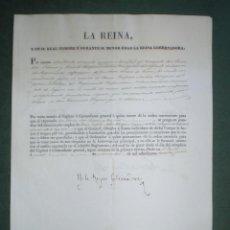 Militaria: Mª CRISTINA-REGENCIA ISABEL II. NOMBRAMIENTO A JUAN JOSÉ PIERNAS RAMOS (MÉDICO MILITAR) 1835 NAVARRA. Lote 155129990