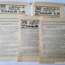Militaria: 5 DOCUMENTOS ORDEN DE PLAZA ABRIL Y JUNIO 1931 REGIMIENTO INFANTERÍA ARAGÓN Nº 21. Lote 155131094