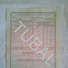 Militaria: TUBAL 1815 HOJA DE SERVICIOS DETALLADA ANDALUCIA GUERRA INDEPENDENCIA MANUSCRITO. Lote 155132006