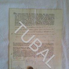 Militaria: TUBAL 1817 NOMBRAMIENTO ANDALUCIA GUERRA INDEPENDENCIA MANUSCRITO SELLO REAL. Lote 155132690