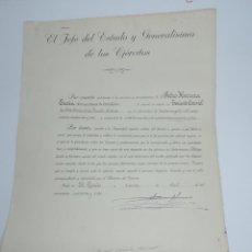 Militaria: ANTIGUA CONCESION O TITULO EMPLEO DE TENIENTE CORONEL DE ARTILLERIA DE LA ESCALA ACTIVA, FECHADO EN . Lote 155221102