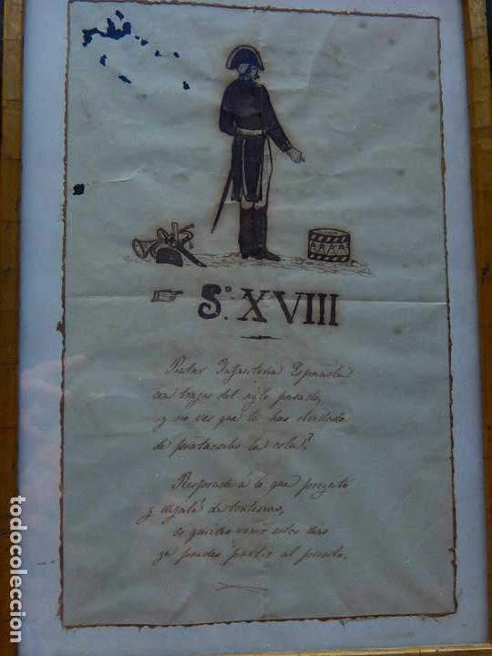 Militaria: Soldado Infantería. Antiguo dibujo soldado, con lo que parece una poesía o escrito. Desconozco Época - Foto 2 - 155358246