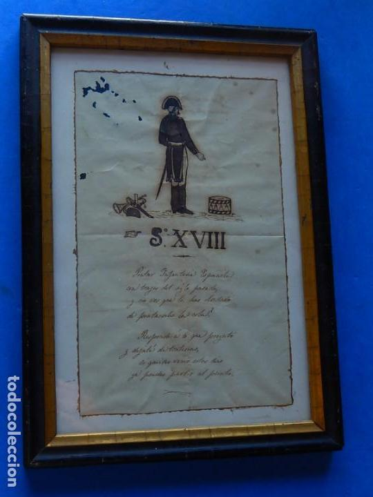 Militaria: Soldado Infantería. Antiguo dibujo soldado, con lo que parece una poesía o escrito. Desconozco Época - Foto 3 - 155358246