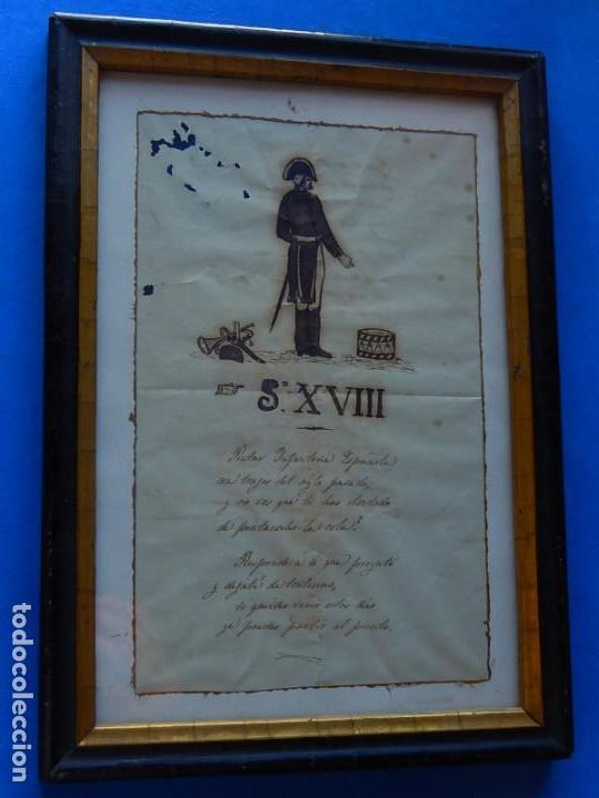 Militaria: Soldado Infantería. Antiguo dibujo soldado, con lo que parece una poesía o escrito. Desconozco Época - Foto 4 - 155358246