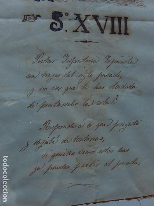 Militaria: Soldado Infantería. Antiguo dibujo soldado, con lo que parece una poesía o escrito. Desconozco Época - Foto 5 - 155358246