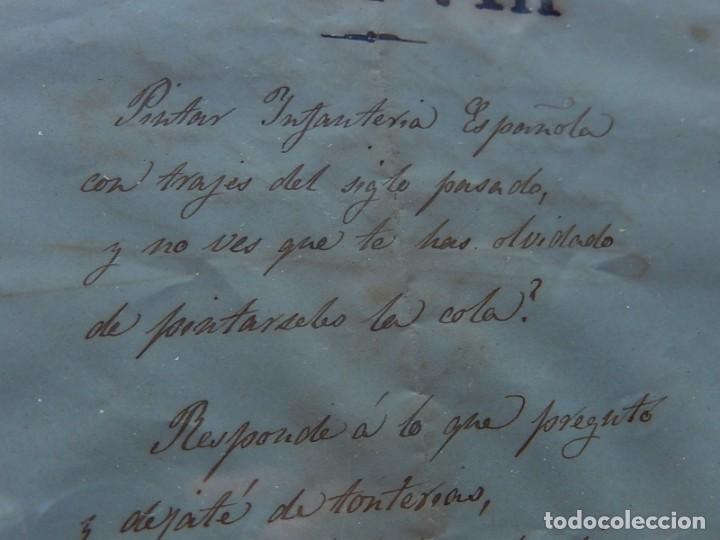 Militaria: Soldado Infantería. Antiguo dibujo soldado, con lo que parece una poesía o escrito. Desconozco Época - Foto 6 - 155358246